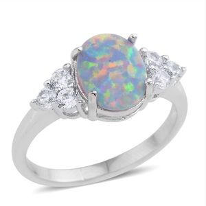 Lab Created Opal Silvertone Ring